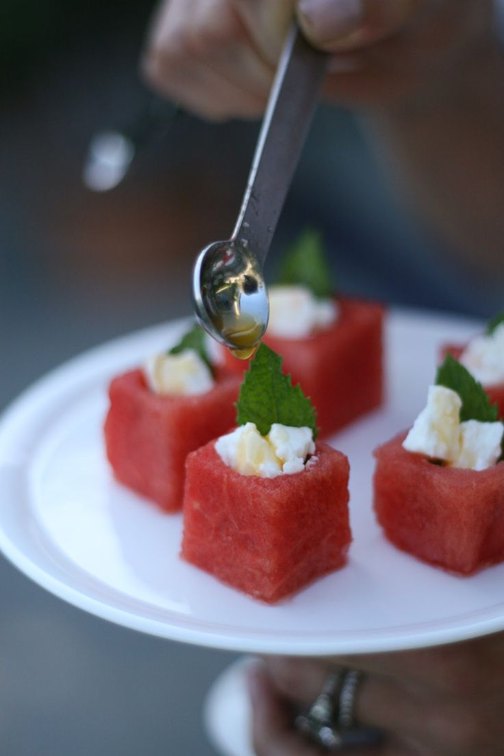 Watermelon Hors d'oeuvres with Mint, Feta, Passion Fruit Syrup and Lime.  Watermelon Passion | The Maili Files (http://themailifiles.blogspot.com/2012/06/watermelon-passion.html)