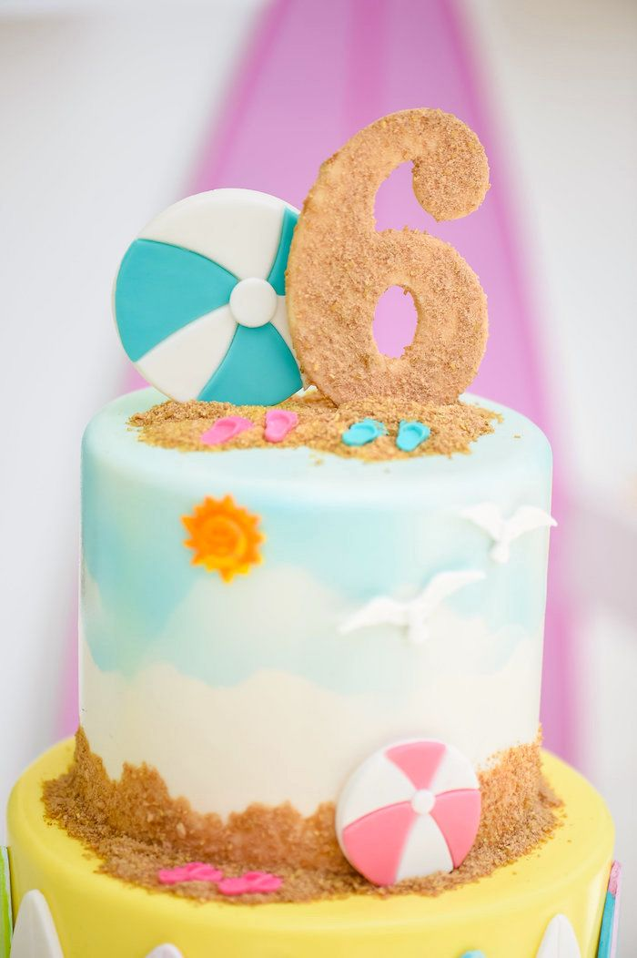 Beach cake from a Surf's Up Beach Birthday Party on Kara's Party Ideas | KarasPartyIdeas.com (19)