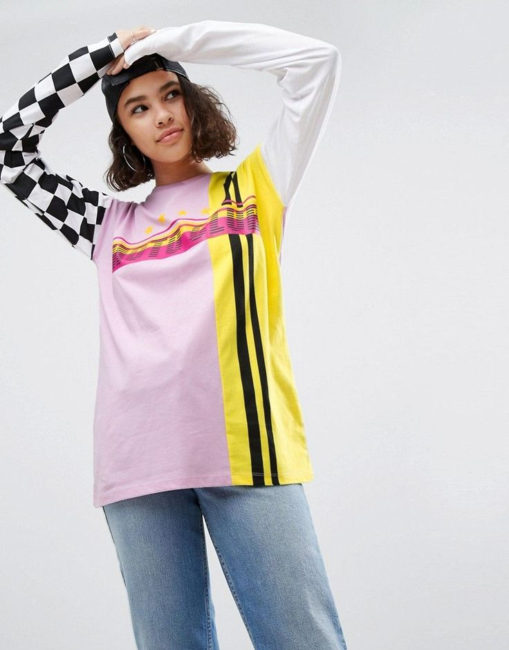 ASOS T-Shirt In Cutabout Motocross Print With Long Sleeves - Multi