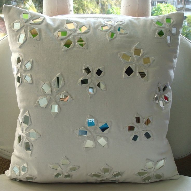 Floral Lake - Throw Pillow Covers - 16x16 Inches Cotton Canvas Pillow Cover in White with Mirror Embroidery. $27.95, via Etsy.