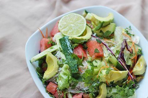 Salade fraicheur (vermicelle de riz, sucrine, concombre, carotte, pastèque)