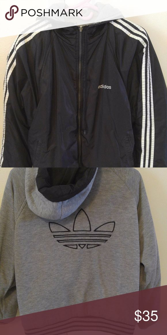 Early 90s Reversible Adidas Coat Old school Adidas jacket. Gray side is cozy sweatshirt material. In good condition, main zipper is missing the pull part though adidas Jackets & Coats
