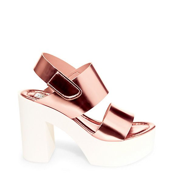 Steve Madden Rose Gold Color Sky High Chunky Heel Platform Sandals Very Nice <3