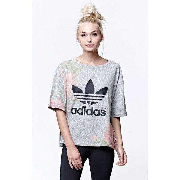 Adidas Pastel Rose Logo Short Sleeve T-Shirt ($35) ❤ liked on Polyvore featuring tops, t-shirts, logo t shirts, crop top, graphic design t shirts, crop tee and short sleeve tees