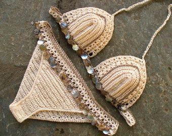 Crochet bikini set in cream and salmon Crochet swimsuit