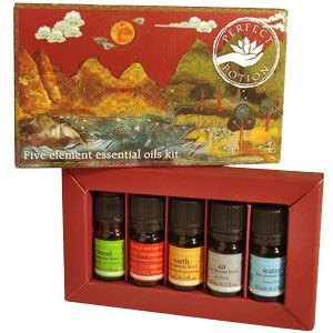 Five Element Essential Oil Kit air blend 5mL earth blend 5mL fire blend 5mL water blend 5mL wood blend 5mL