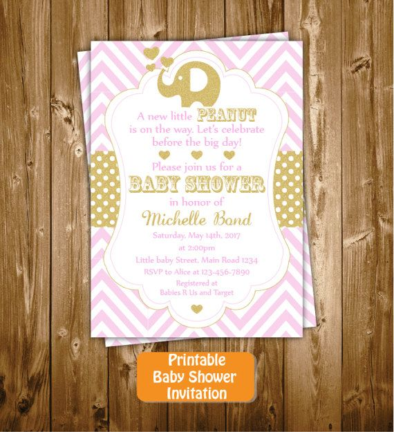 Elephant Baby Shower Invitation Elephant by RedRedRoseHandmade