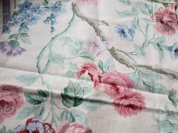 Excited to share the latest addition to my #etsy shop: Retro Floral Fabric Remnants - Vintage Cabbage Rose Fabric, Jacobean Fabric Scrap, Two Vintage Scraps of Material, Seamstress Fabric Scraps http://etsy.me/2opeg8q