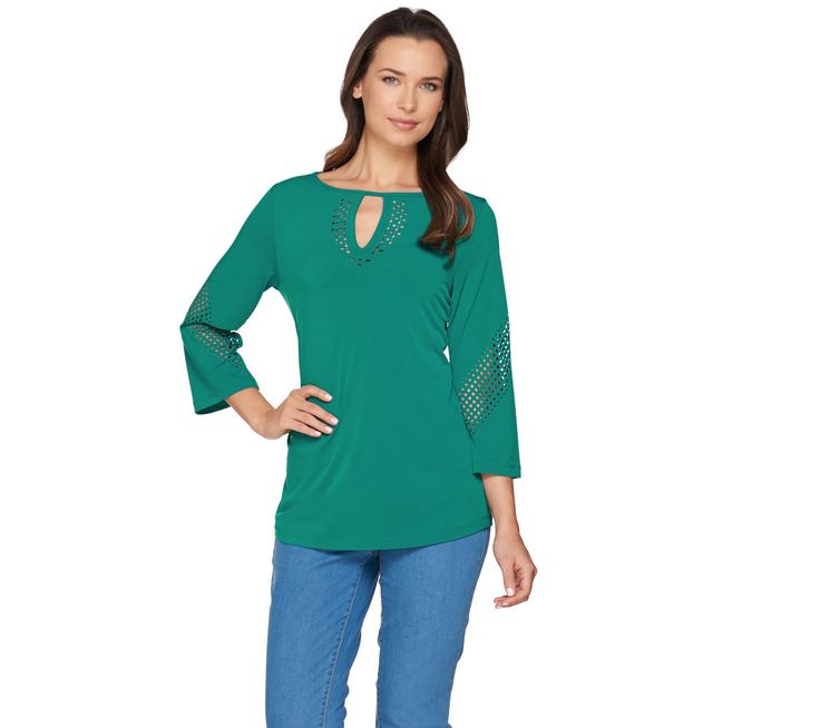 Susan Graver Liquid Knit 3/4 Sleeve Top with Laser Cut Detail