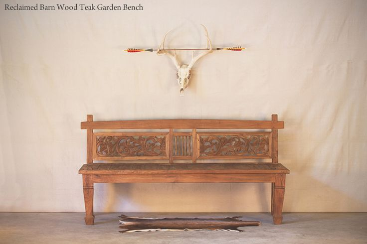Hunt and Lane | a top shelf furniture company | Reclaimed Teak Barn Wood Garden Bench | Beautiful Carving | Solid | Java Indonesia | tropical living | organic, sustainable furnishings and interiors for your home.