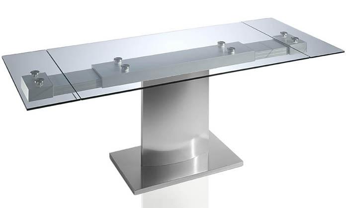 Mesa de comedor de cristal templado con dos extensibles y base de acero pulido alta gama a un - Mesas de comedor de cristal y acero extensibles ...