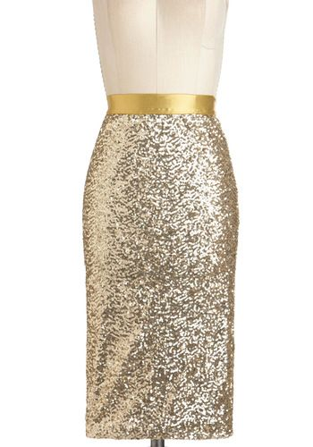 Throw on a holiday-colored blouse with this sequin shine skirt and it's festive and fun.
