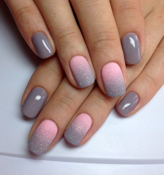 Pink, grey, and a little glitter too. So cute n classy! - 22 Best Images About Unhas On Pinterest Nail Art, Mint Green And