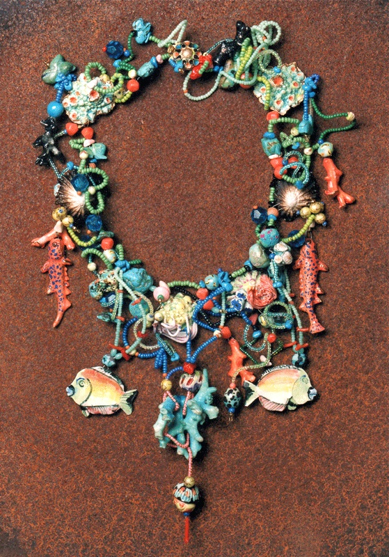 THE SEA, necklace, porcelain, various beads
