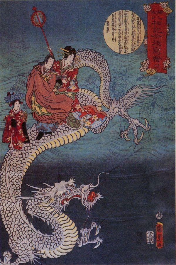 tai shin on a white dragon fine art print by utagawa