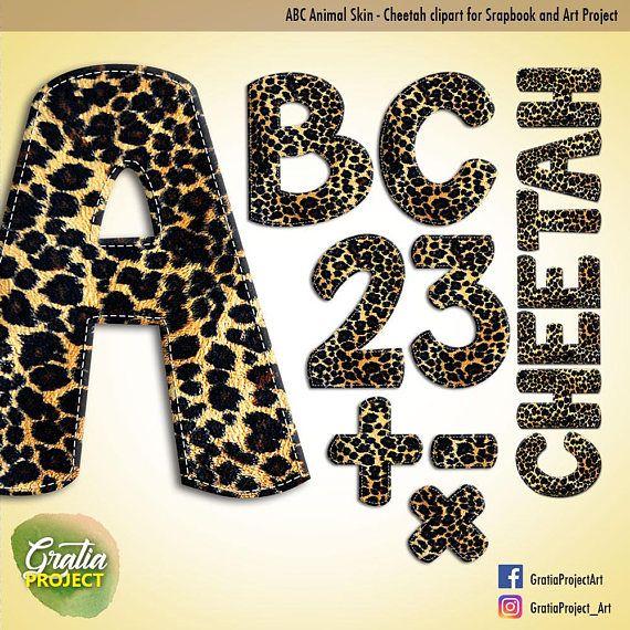 ABC Cheetah Skin Print Font Clipart for Scrapbooks Baby ABC