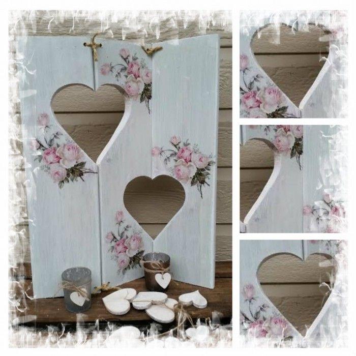 Decoratie drie luikjes gemaakt in de stijl brocante hout for Action printpapier