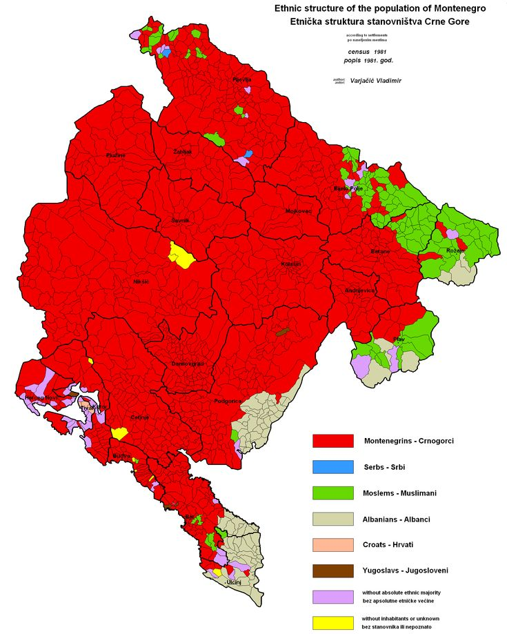 Ethnic map of Montenegro according to the 1981 census
