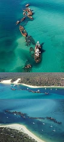 """Fake - """"Off the Bermuda Triangle"""" and a lot of other stuff -  It's actually off the east coast of  Australia.. Tangalooma Wrecks Dive Site  Moreton Island, Moreton Bay Area. Fifteen vessels have been deliberately sunk on the landward side of Moreton Island to form a breakwall for small boats and a wreck dive and snorkel site."""