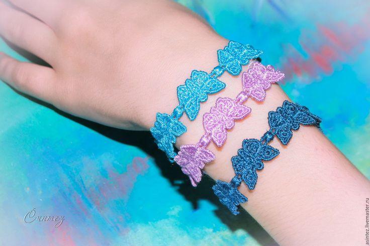 Купить браслет вышитый кружевной ассорти детские украшения - разноцветный, браслет браслетик, вышивка легкая