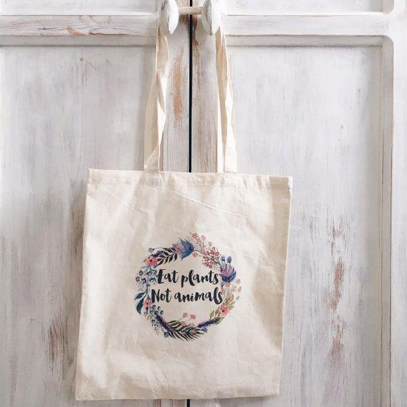 Toile sac cabas coton mangent les plantes pas par elkedagelbrich