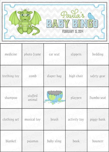Now as a FREE PDF file!   Dragon Baby Shower Bingo cards by Kimbellished Includes 100 pre-filled game cards.