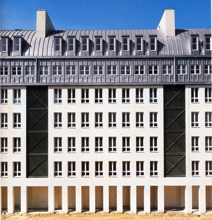 Aldo Rossi. Villette, Paris, 1988. I really like the typological interpretation of parisian architecture.