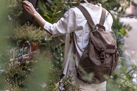 marco:オリーブ(タンニン帆布×杤木レザーリュック) | 帆布バッグ、リネンバッグ、レザーグッズ| clueto(クルート)in 神戸