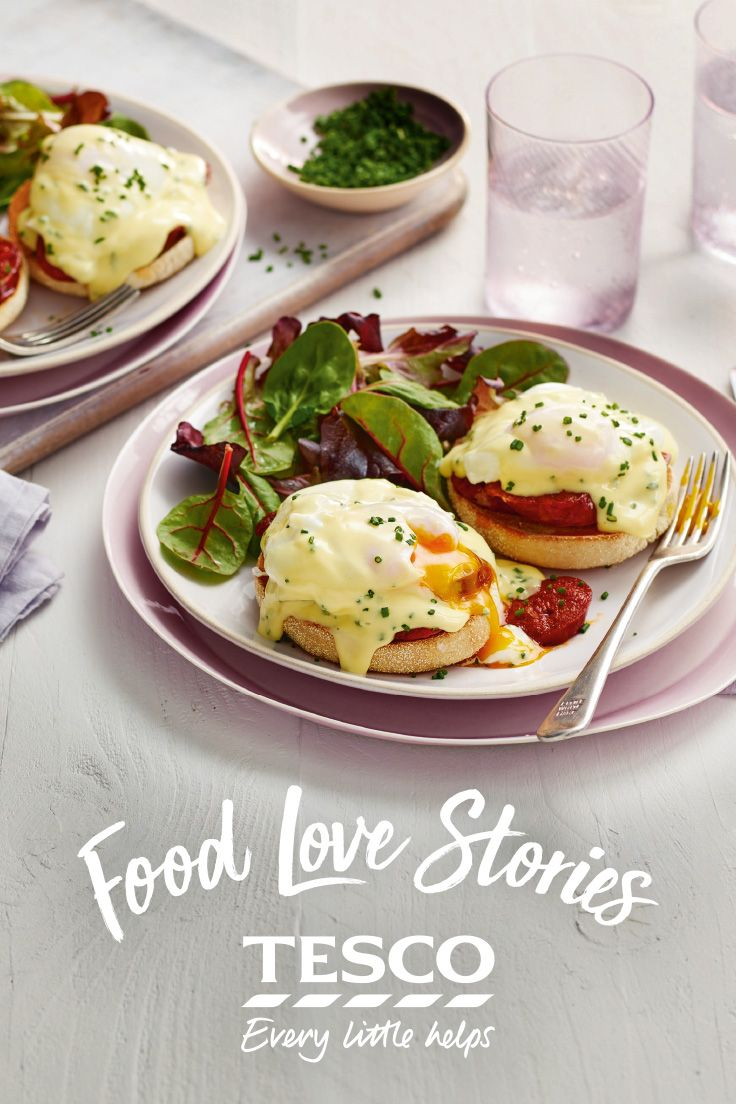 Upgrade your Easter brunch with Mel's chorizo eggs Benedict from our Food Love Story – bubbles optional!   Tesco.
