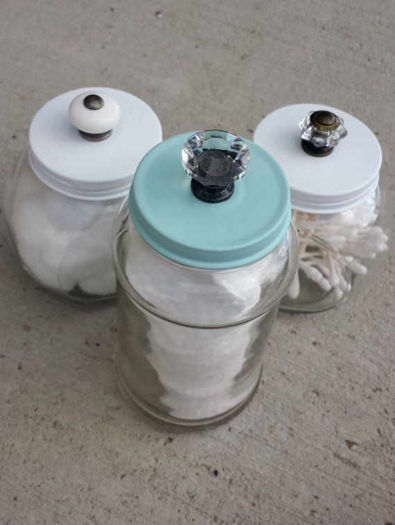 Decorative Bathroom Storage Jars by TheBurlapDaisy on Etsy