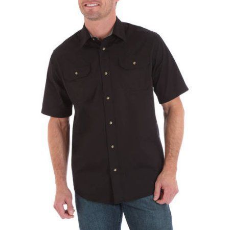 Wrangler Big Men's Short Sleeve Shirt with Pencil Pocket, Size: 2XT, Black