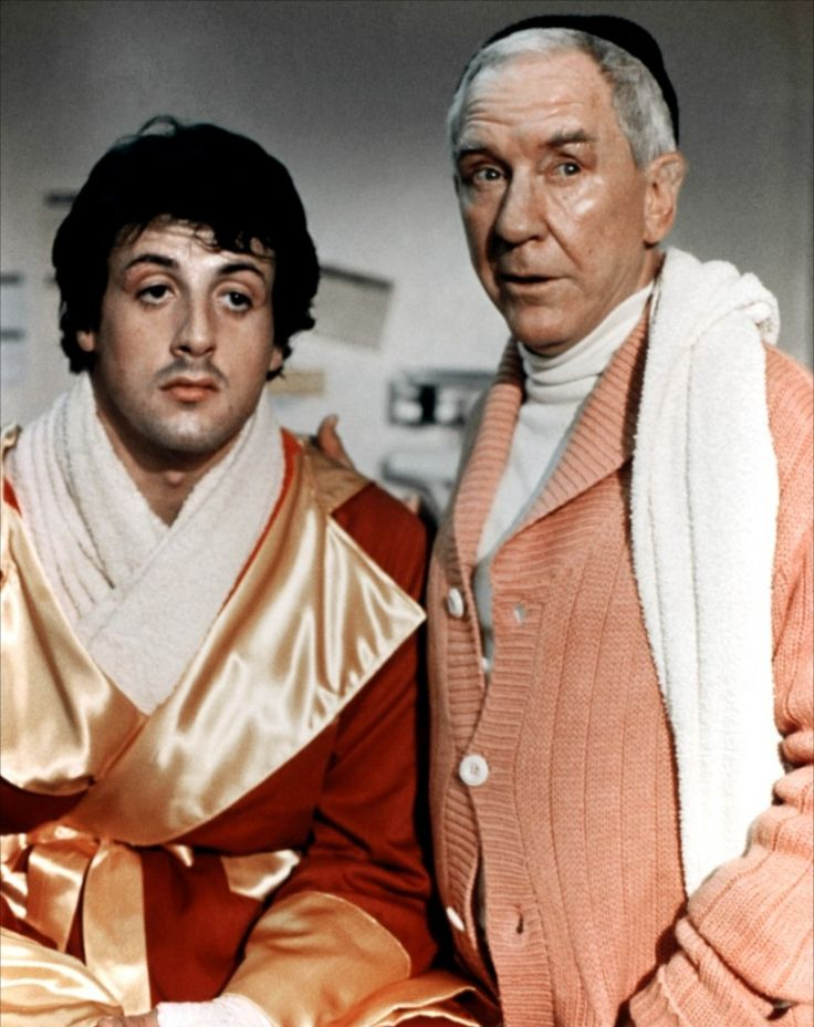 Burgess Meredith and Sylvester Stallone in Rocky (1976)