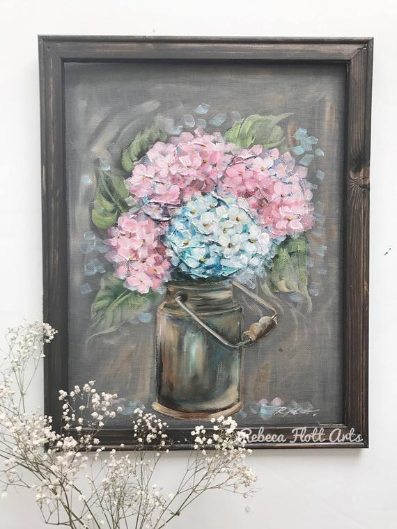 Gramma Patty hydrangeas Original by Rebeca Flott Hydrangeas hand painted mason jar and hydrangeas original