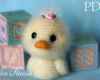 Elfin Thread - Fuzzy Mini Duck Amigurumi PDF Pattern (Duckie crochet pdf pattern)