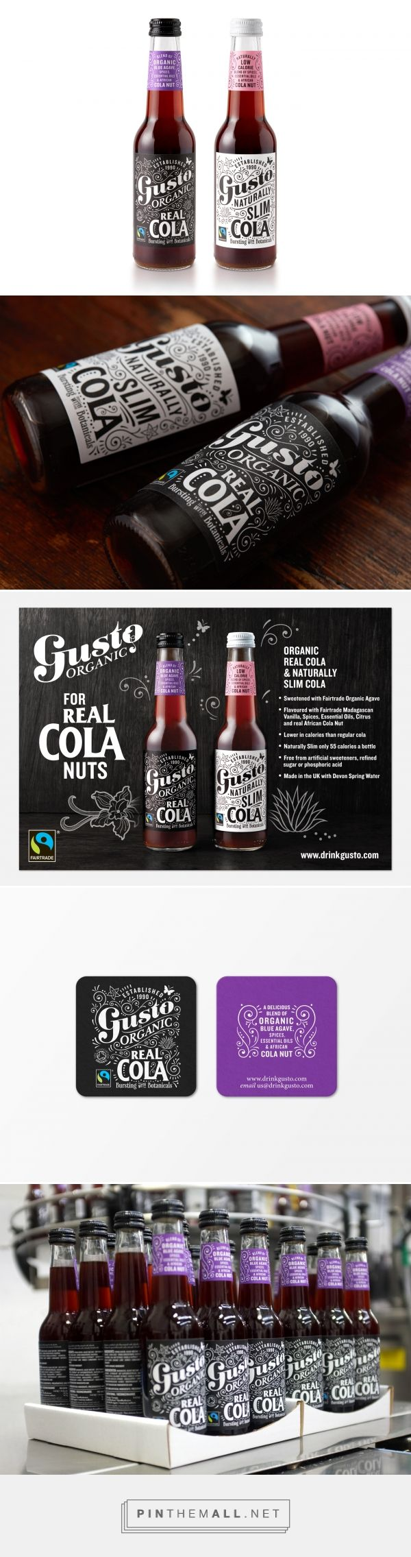 Gusto Organic Cola packaging design by Q&A Studio - http://www.packagingoftheworld.com/2017/10/gusto-organic-colas.html