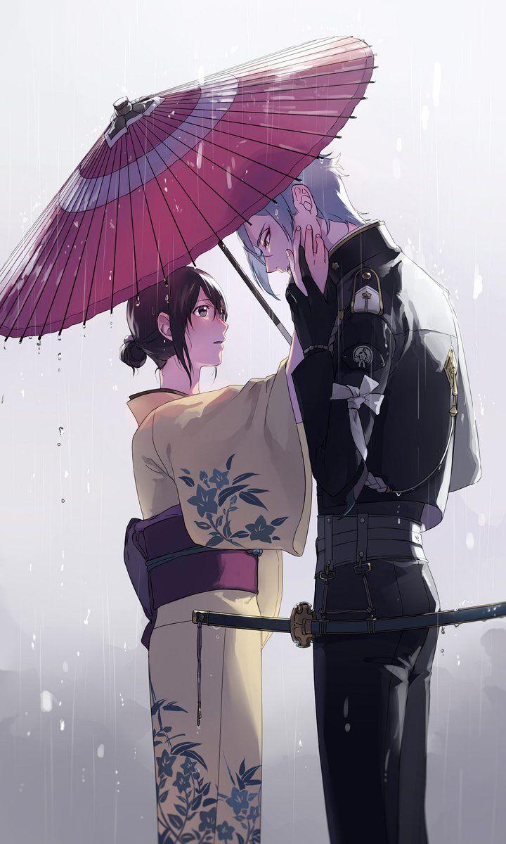 арт, зонт, дождь, девушка и юноша