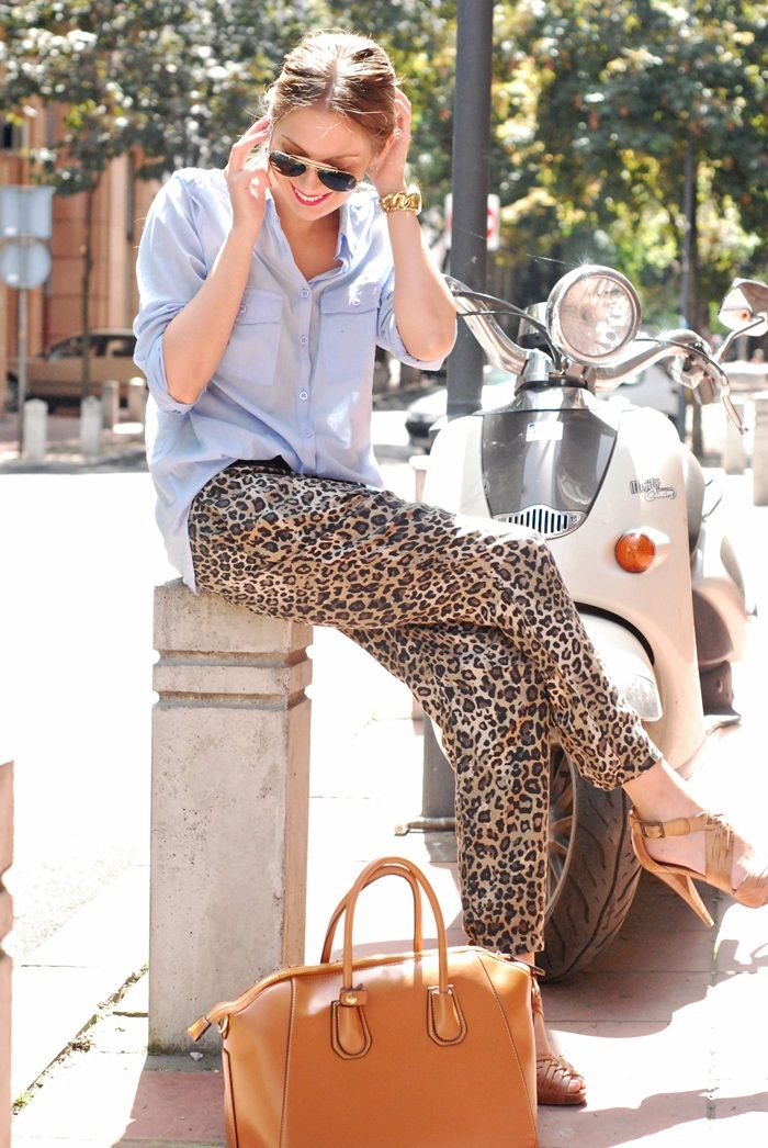 Classy animal print,love the material on the trousers. Possibly best kept for casual Friday with the denim shirt.