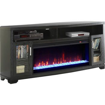 A media console with a built-in electric fireplace. | 19 Things You Never Knew You Could Get For Your Home At Costco