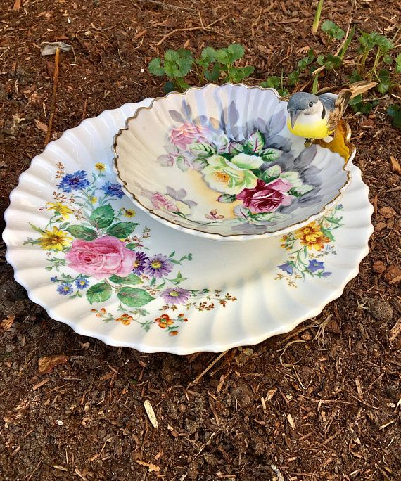 Repurposed floral vintage plate and bowl tiered dish assemblage, perfect for jewelry, candy, bird seed and more!