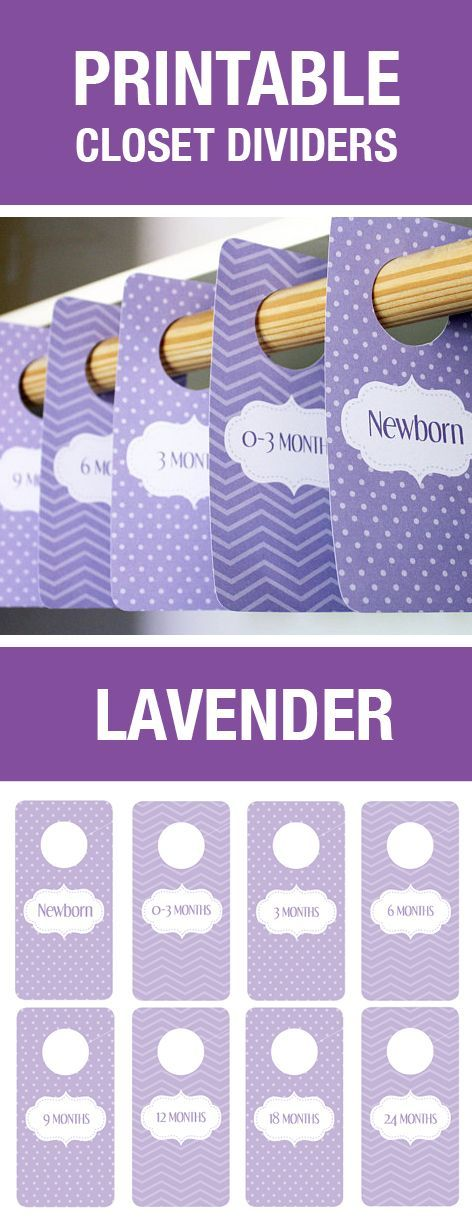 Printable Closet Dividers, Baby Shower Gift, Purple Nursery Decor, Nursery Themes, Chevron and Polka Dots, Lavender Baby Room Decorations, Closet Organization, Baby Hanger Dividers, Baby Labels