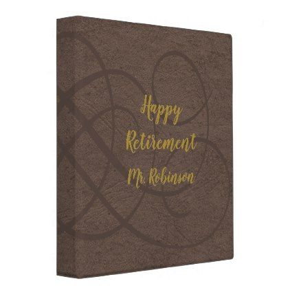 Happy Retirement elegant faux leather 3 Ring Binder - elegant gifts gift ideas custom presents