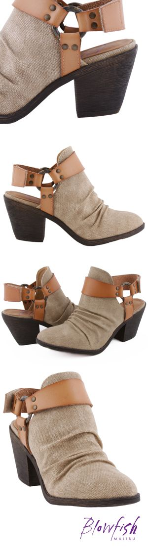 Santi is the perfect style to pair with all of your favorite spring looks. This ultra chic canvas bootie features a 2 inch heel and a Velcro ankle strap to keep you in these comfortably all day. Not to mention the stylish details including the ruching on the vamp and o-ring accent at the ankle. Strap into these fun and trendy spring booties from Blowfish Shoes!