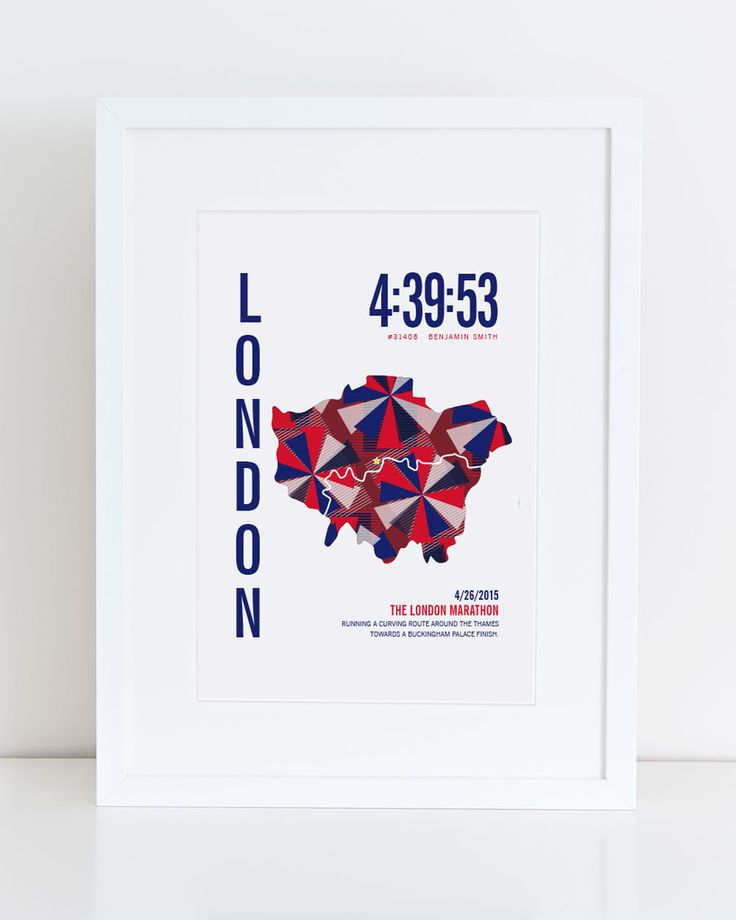 London Marathon Poster – personalized with runner's time, bib number and name