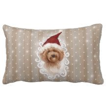 Beautiful Detailed Christmas Dog Painting Pillow