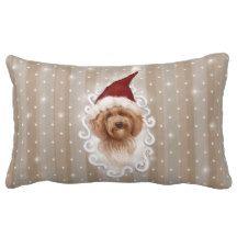 Beautiful Detailed Christmas Dog Painting Pillow