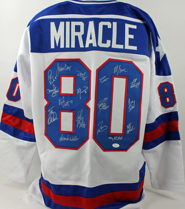 1980 Usa Hockey Miracle Team (17) Autographed White Jersey $742.99  This is a Authentic Signed White Jersey that has been Personally Signed & Autographed by 1980 USA Hockey Miracle Team (17). Both Jim Craig and Mike Eruzione signed this item along with 15 others. This item is 100% Authentic to include a Certificate of Authenticity (COA) / hologram by JSA Witness. This is a JSA Witnessed Protection Program item which means a JSA representative was present when this item was being signed.This…