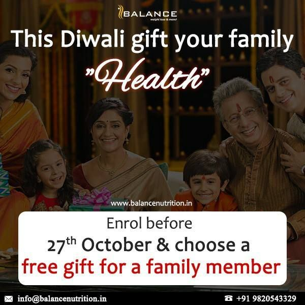 Let's get healthy TOGETHER While you get discounts on the program, 1 member of your family gets a free gift !! To know more contact us at care.garima@balancenutrition.in or 9820543329 now