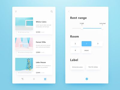 Rental Application Interface-list and filter