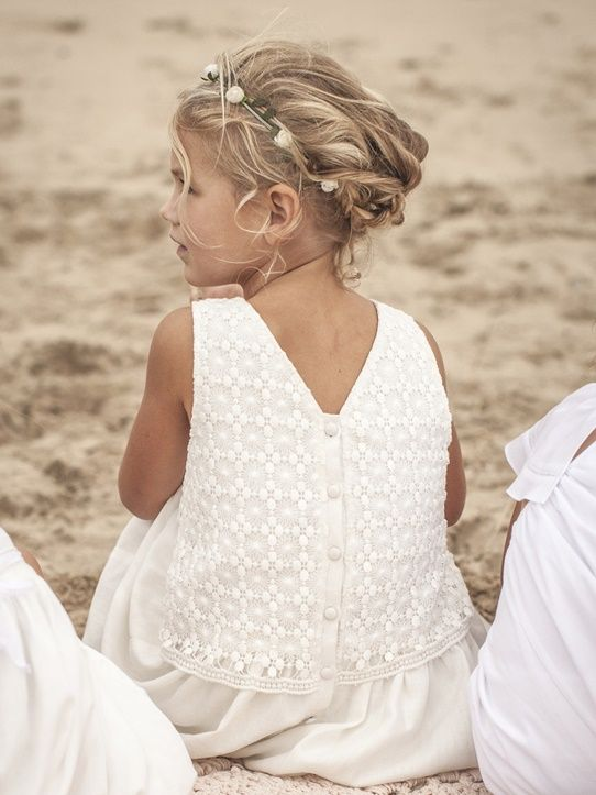 Robe lin de cérémonie Faux blanc+Marine
