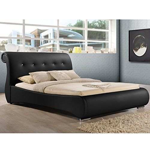 Baxton Studio Pergamena Leather Contemporary Bed King Black >>> You can get more details by clicking on the image.